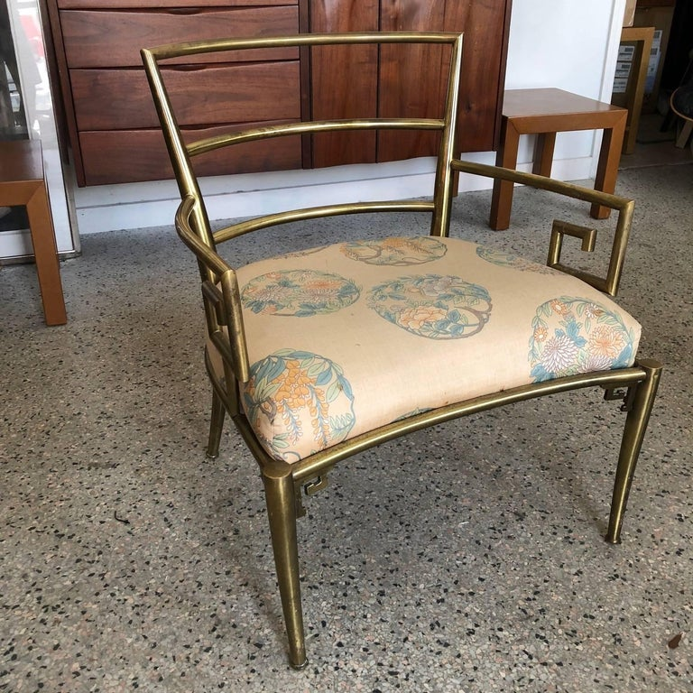Italian Brass Chair with Greek Key Design In Good Condition For Sale In St.Petersburg, FL