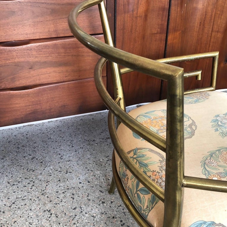 Mid-20th Century Italian Brass Chair with Greek Key Design For Sale