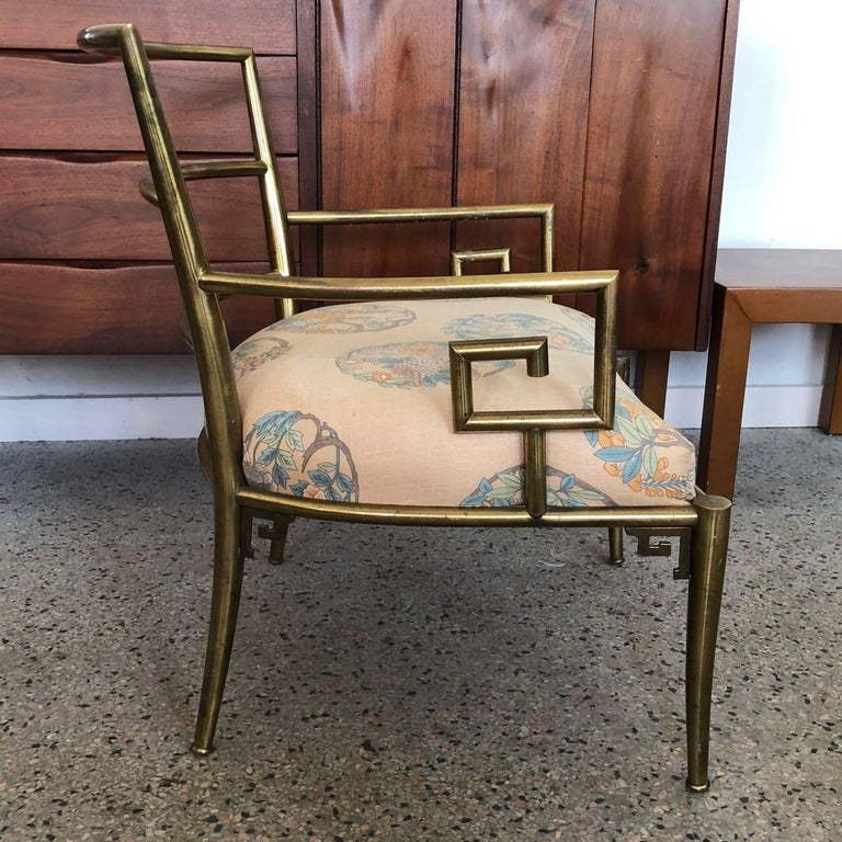 Italian Brass Chair with Greek Key Design For Sale 2