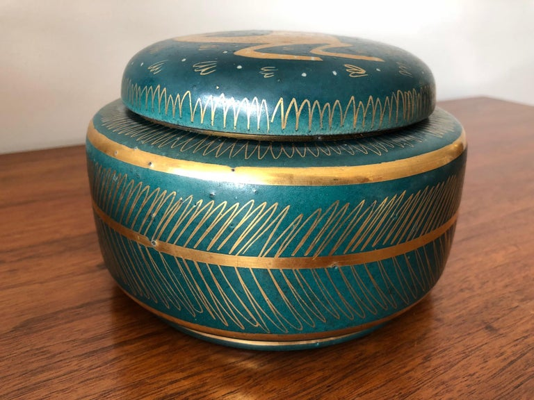 An interesting ceramic lidded jar by Waylande Gregory with sgraffito decoration.