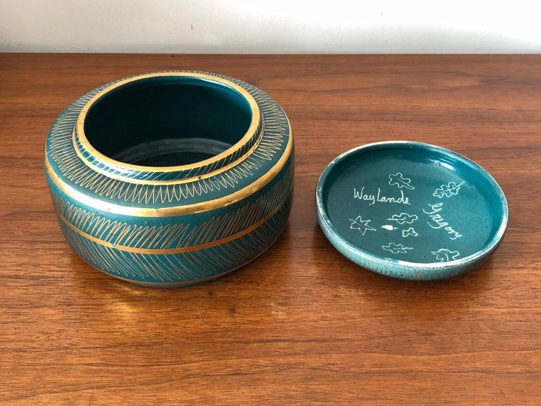Waylande Gregory Ceramic Jar with Sgraffito Decoration For Sale 1