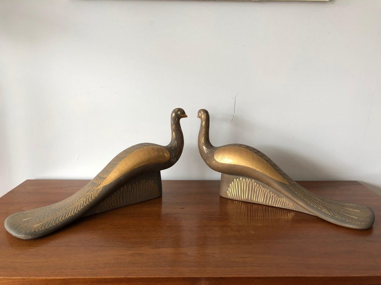 Modern Pair of Stylized Ceramic Swans by Waylande Gregory, circa 1940s For Sale