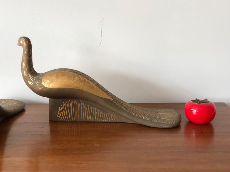Pair of Stylized Ceramic Swans by Waylande Gregory, circa 1940s For Sale 4