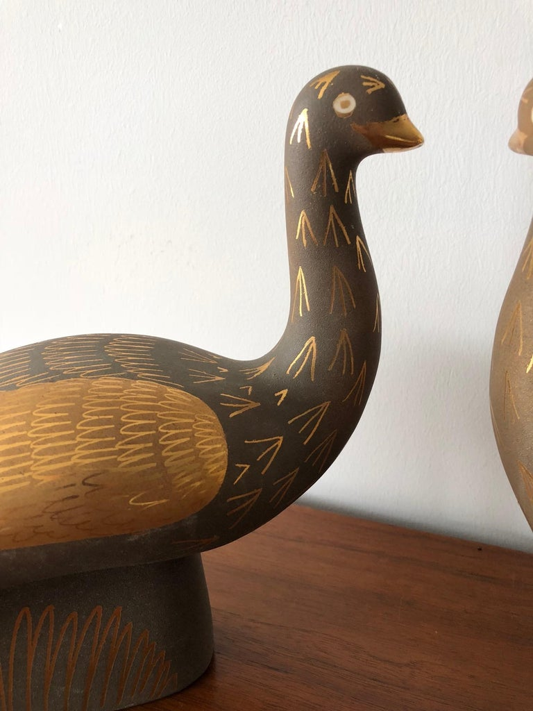 Pair of Stylized Ceramic Swans by Waylande Gregory, circa 1940s For Sale 5