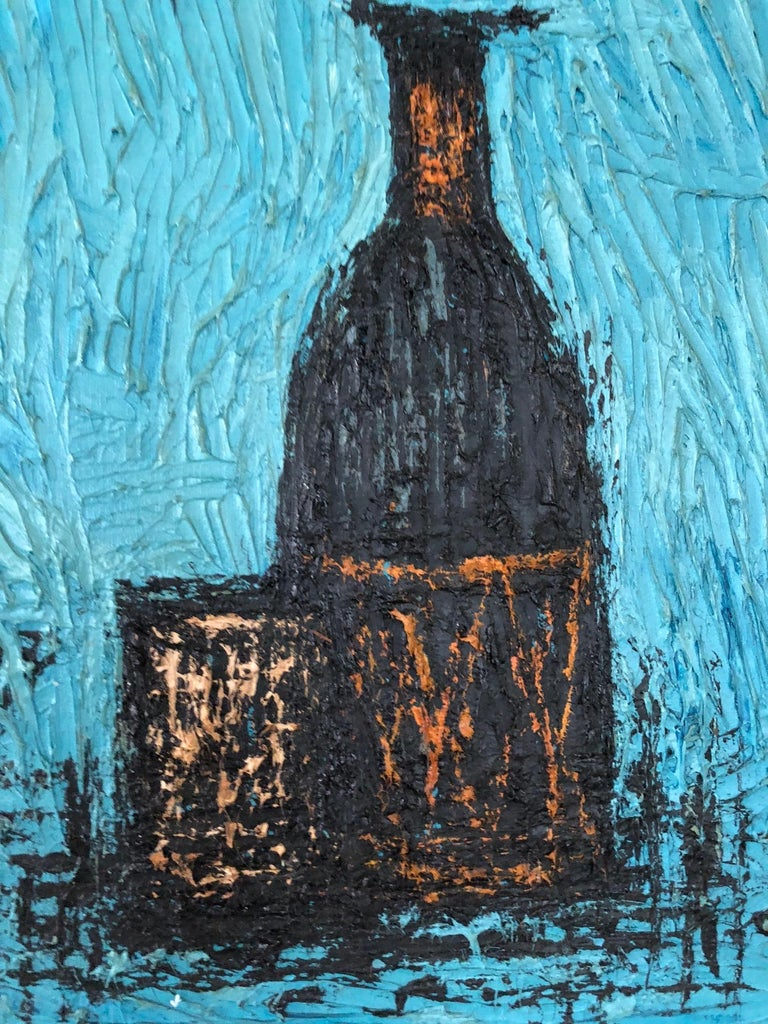 North American Charming Still Life Painting In The Style Of Bernard Buffet For Sale