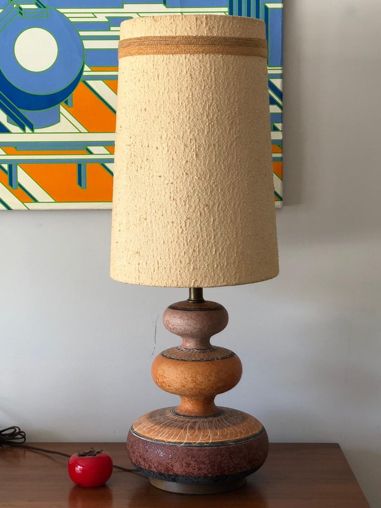 Mid-Century Modern Charming Ceramic Gourd Lamp with Sgraffito Decoration For Sale
