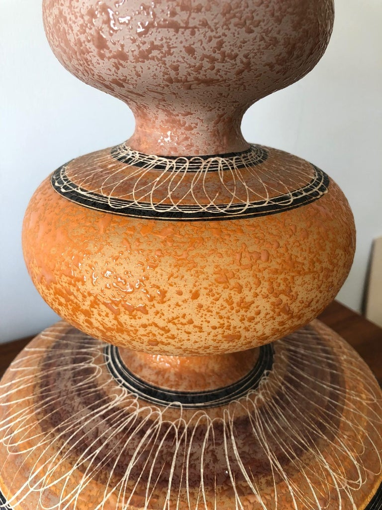 Mid-20th Century Charming Ceramic Gourd Lamp with Sgraffito Decoration For Sale