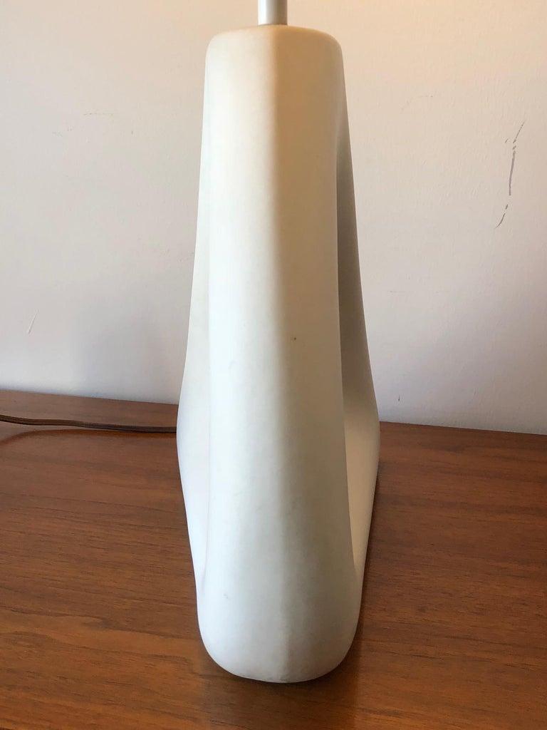 Unusual Ceramic Biomorphic Lamp With Original Shade For Sale 1