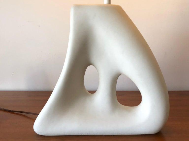 Unusual Ceramic Biomorphic Lamp With Original Shade For Sale 3