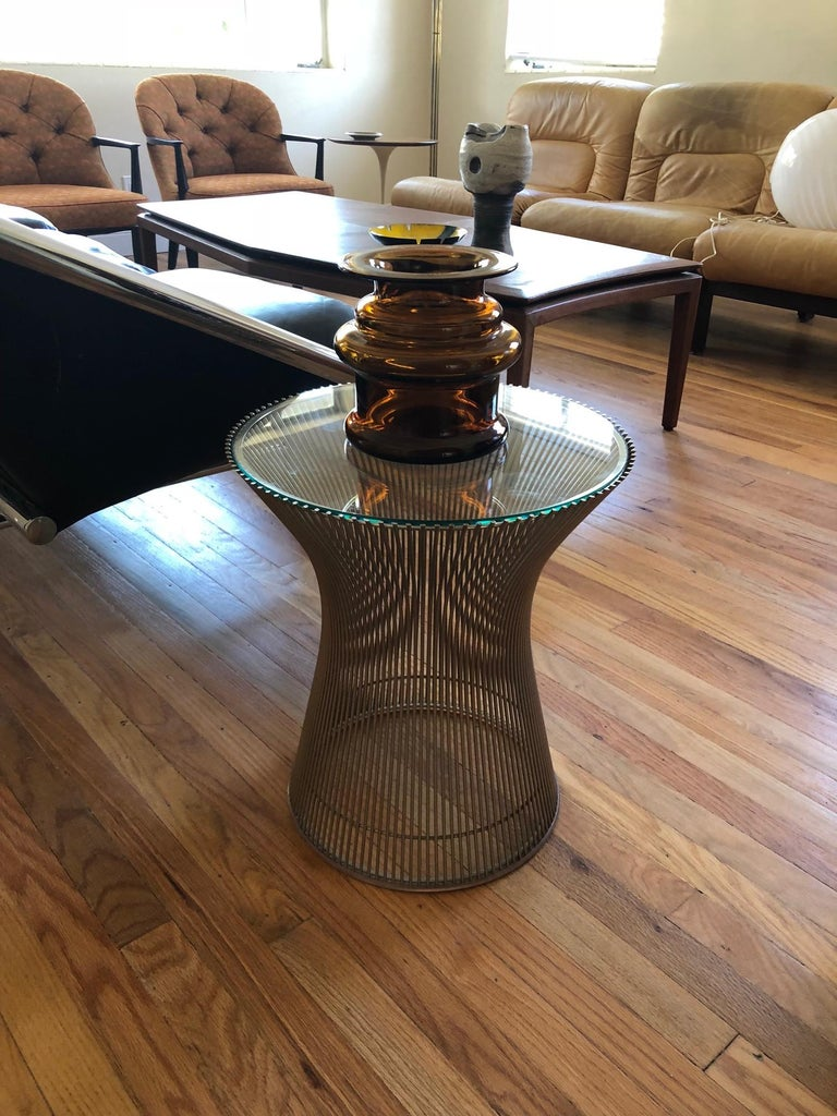 Late 20th Century Warren Platner Side Table with Glass Top For Sale