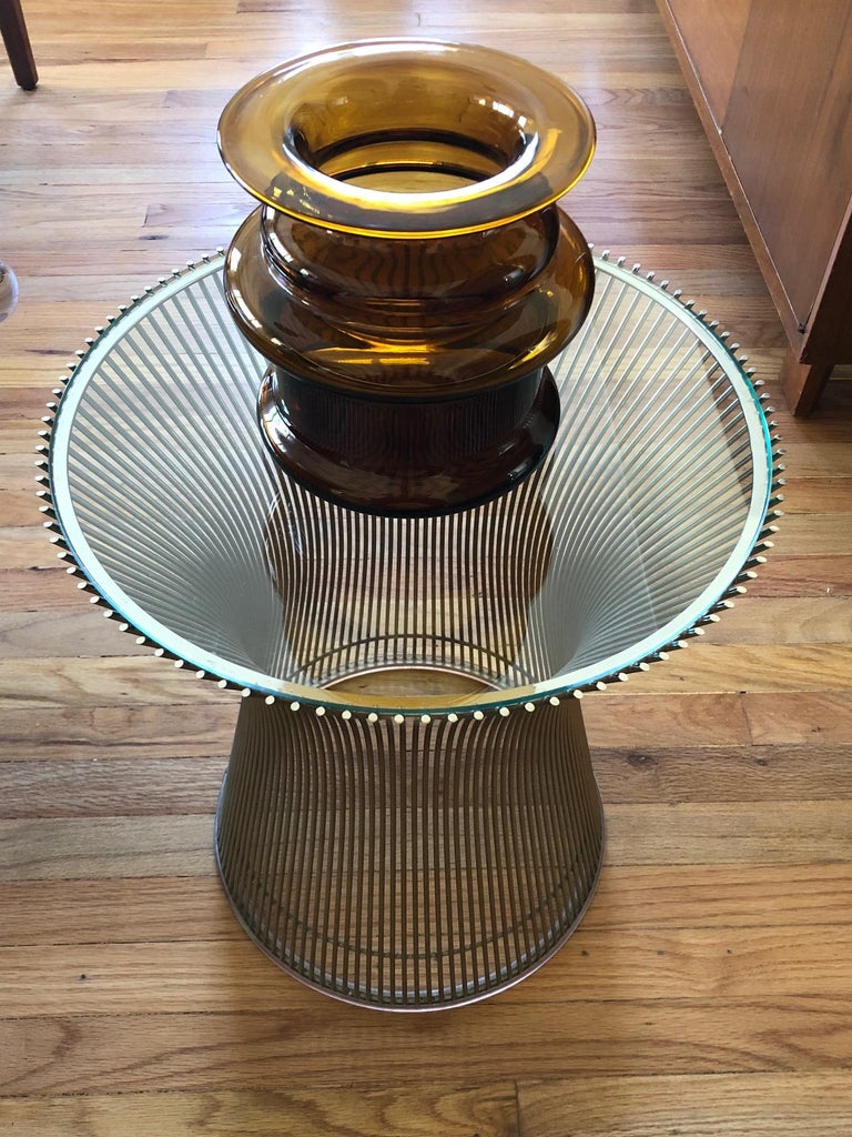 Warren Platner Side Table with Glass Top For Sale 1