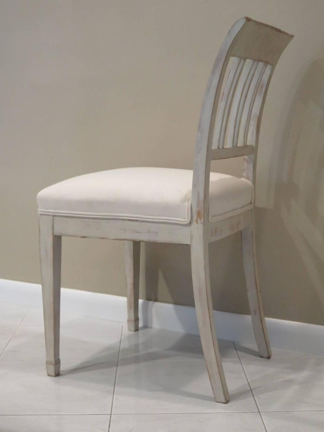 gustavian style swedish dining table and ten chairs for sale at