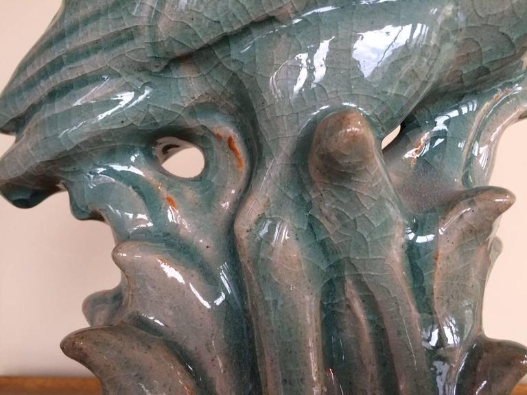 Unusual Royal Copenhagen blue heron glazed ceramic sculpture. Signed and dated 1938. Crackle glaze, heavy and quite large. Note one imperfection-a chip-see photo.