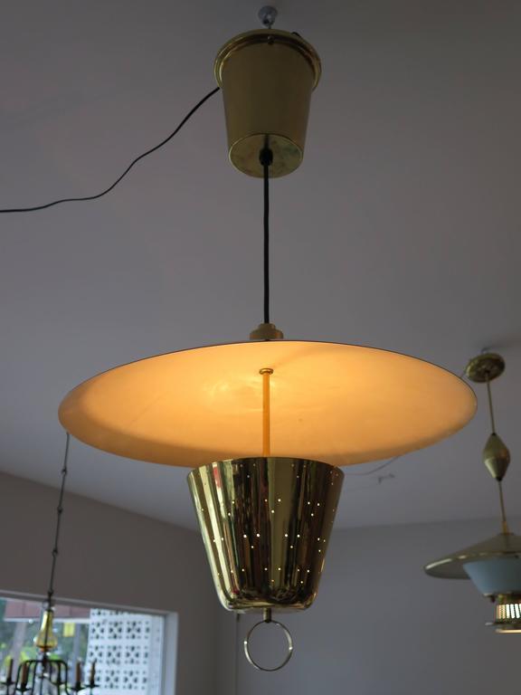 Mid-20th Century Brass Pendant Adjustable Lamp  For Sale