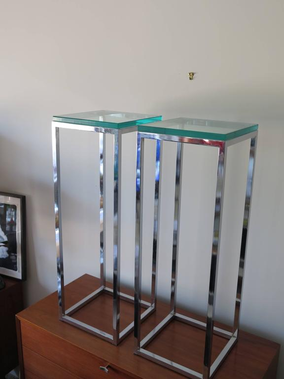 Pair of Classic Tall Chrome Pedestal Tables 4