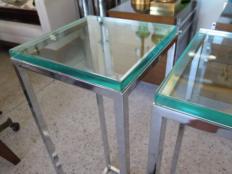 Pair of Classic Tall Chrome Pedestal Tables 2