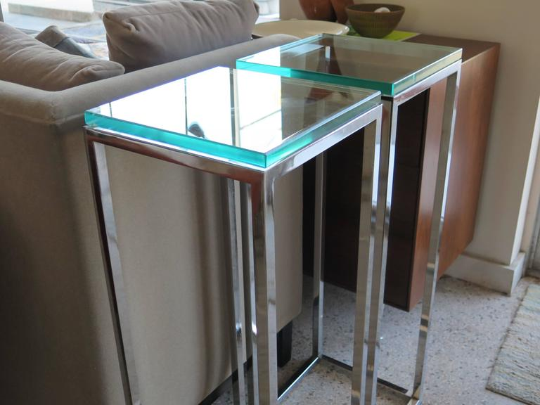 Pair of Classic Tall Chrome Pedestal Tables 6
