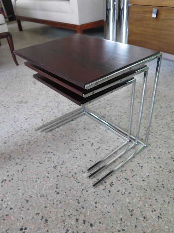 Mid-20th Century Set of Rosewood Nesting Tables For Sale