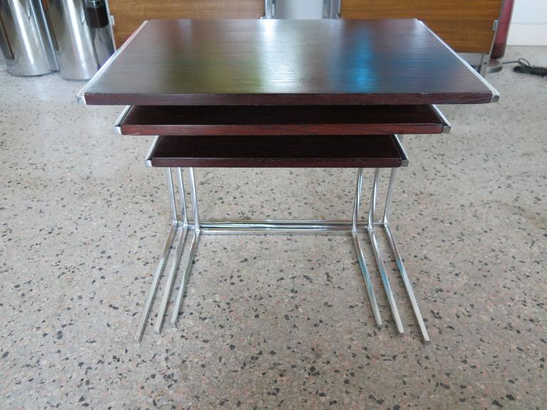Modern Set of Rosewood Nesting Tables For Sale