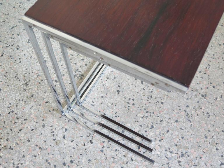 Set of Rosewood Nesting Tables In Good Condition For Sale In St.Petersburg, FL