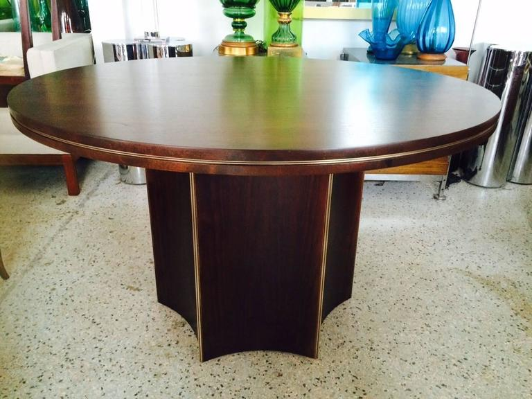 Unusual Center Table by McGuire with Brass Details 7