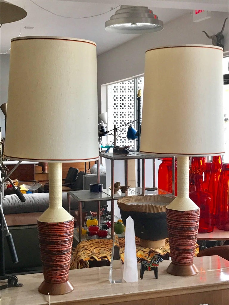 Mid-20th Century Pair of Large Scale Marcello Fantoni Ceramic Lamps For Sale