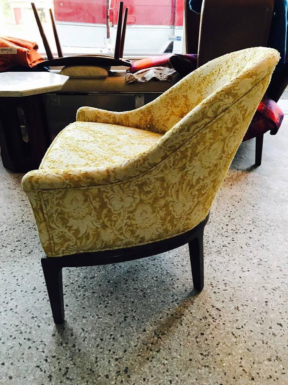 A pair of stylish tub chairs by Henredon. Original finish and upholstery.