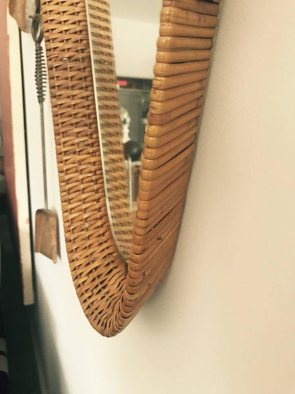 Mid-Century Modern Unusual Italian Cane and Brass Mirror, circa 1950s For Sale
