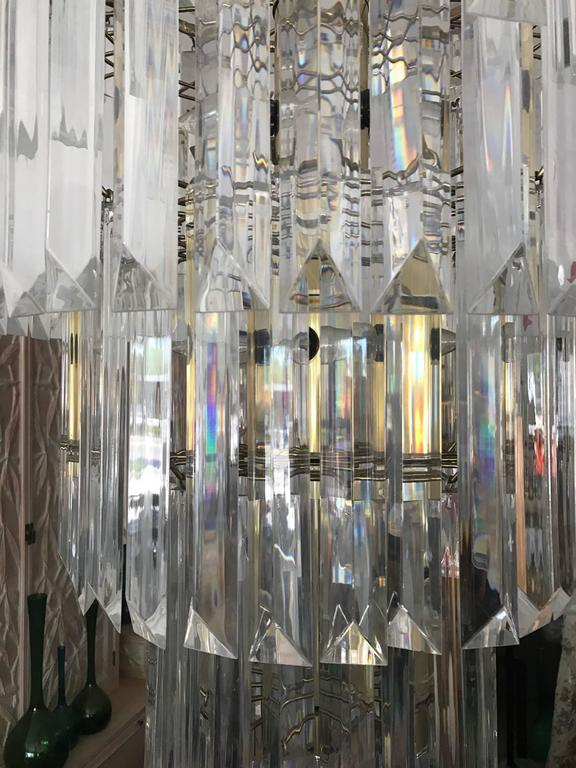 Modern Massive Eight-Tier Lucite Camer Style Chandelier by Triarch For Sale