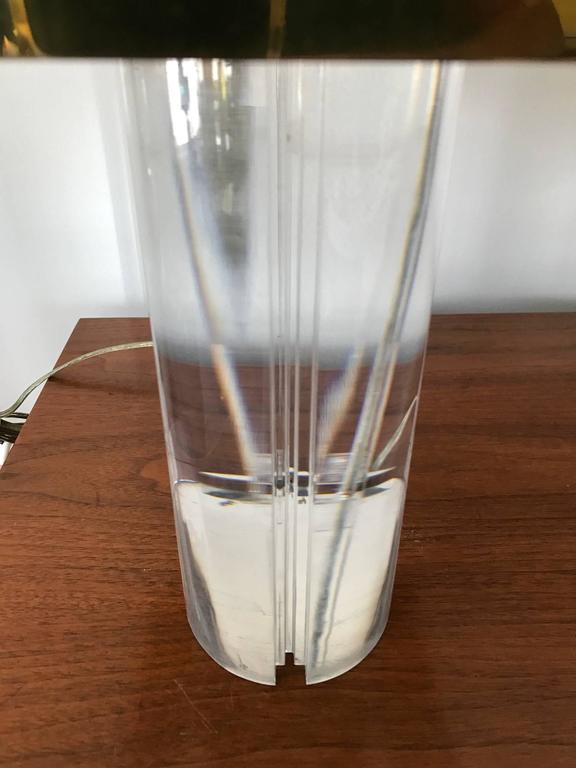 American Karl Springer Lucite Table Lamp with Brass Shade For Sale