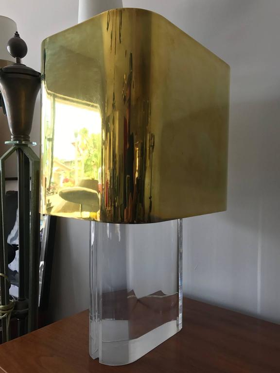 Karl Springer Lucite Table Lamp with Brass Shade 6