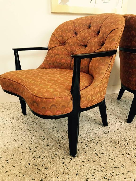 "A pair of excellent Edward Wormley for Dunbar ""Janus Collection"" armchairs. Hard to find in very good original condition-dark finish and original Larsen fabric, circa 1960s."