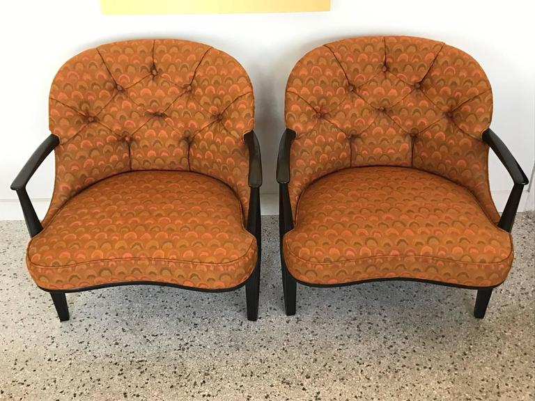 Modern Pair of Classic Dunbar Janus Armchairs in Larsen Fabric For Sale