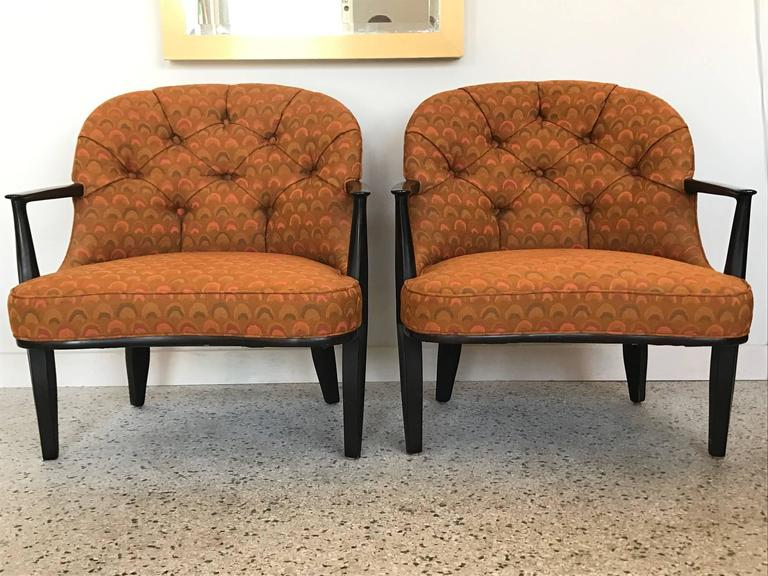 American Pair of Classic Dunbar Janus Armchairs in Larsen Fabric For Sale