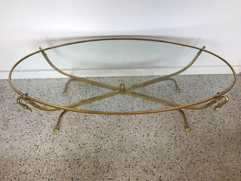 Italian Brass Swan Coffee Table, 1970s 6