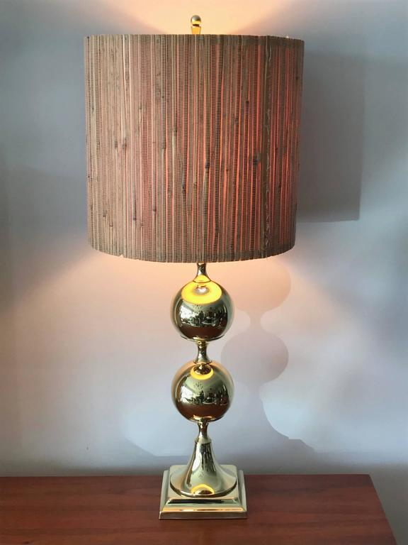 Unusual Polished Brass Lamp by Tower Craftsman 4