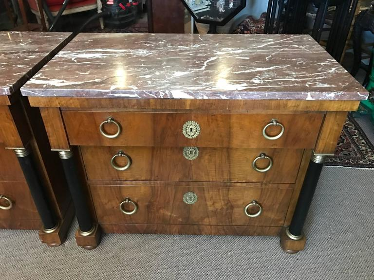 Pair of Elegant Empire Style Chests by Baker 2