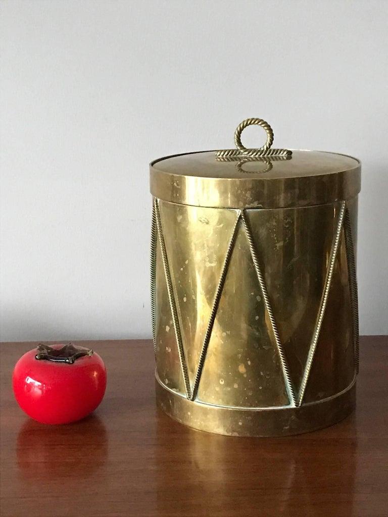 Vintage Italian Brass Drum Ice Bucket 2