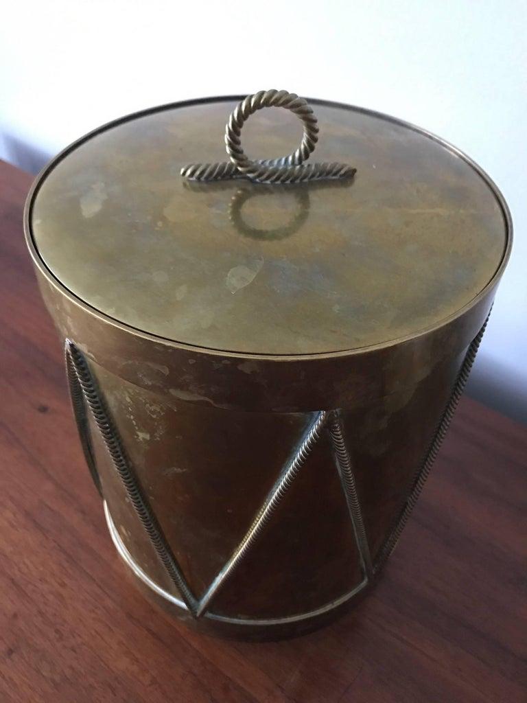 Vintage Italian Brass Drum Ice Bucket 4