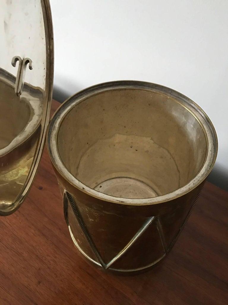 Vintage Italian Brass Drum Ice Bucket 6