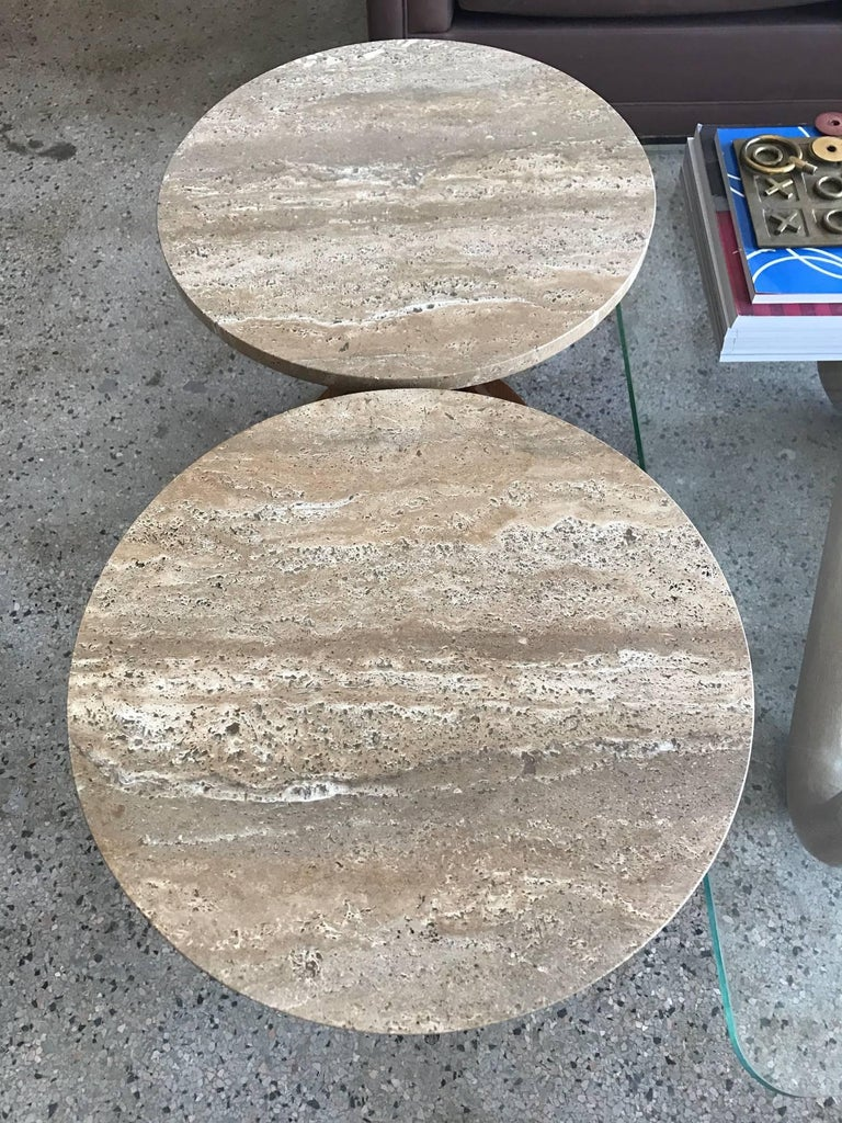American Pair of Edward Wormley Dunbar Sheaf of Wheat Tables with Travertine Tops For Sale