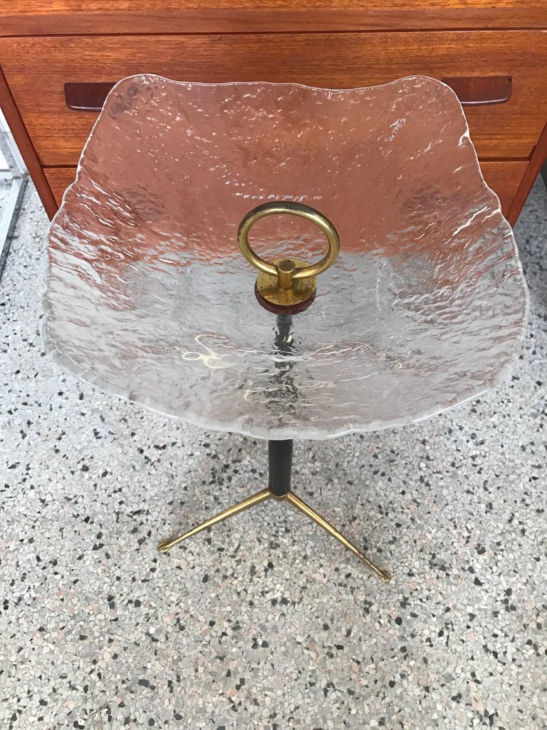 Mid-20th Century Unusual Italian Gueridon with Moulded Glass Top For Sale