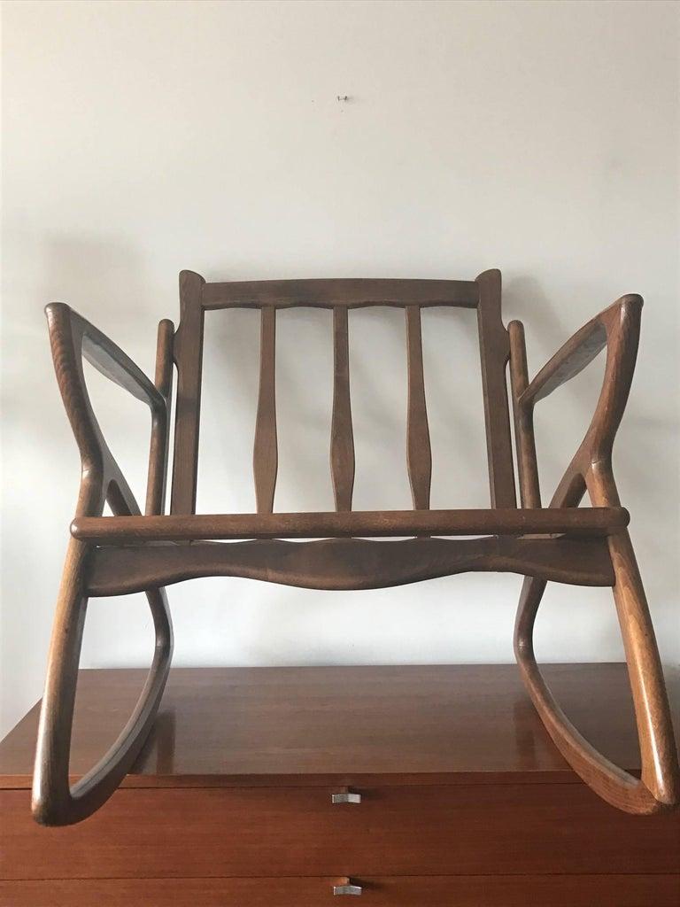 Italian Rocking Chair 1950s Organic Design, Midcentury 3