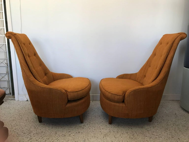 Pair of Karpen High Back Slipper Chairs In Good Condition For Sale In St.Petersburg, FL