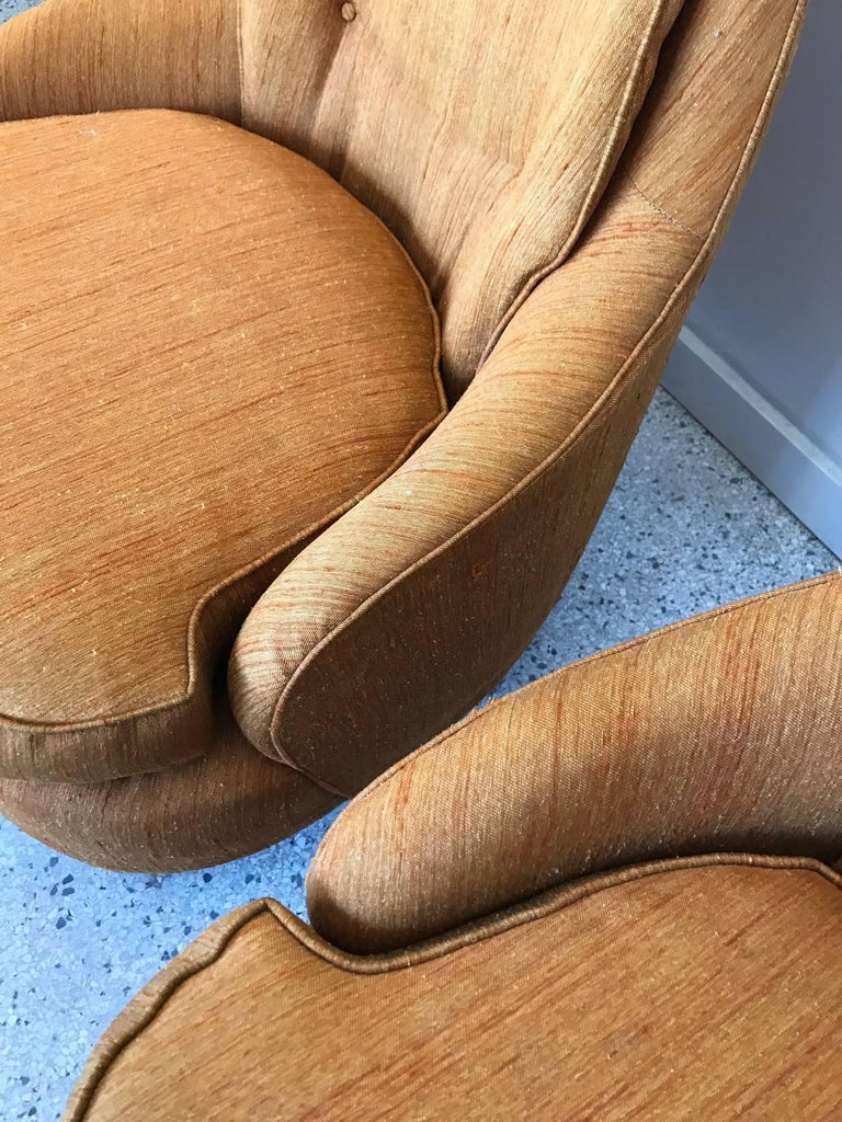 Pair of Karpen High Back Slipper Chairs For Sale 2