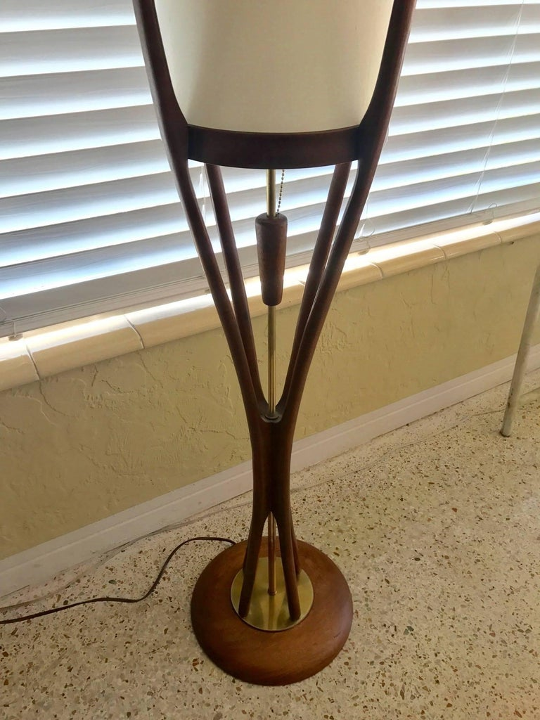 American Modeline Sculptural Walnut Mid-Century Modern Floor Lamp For Sale