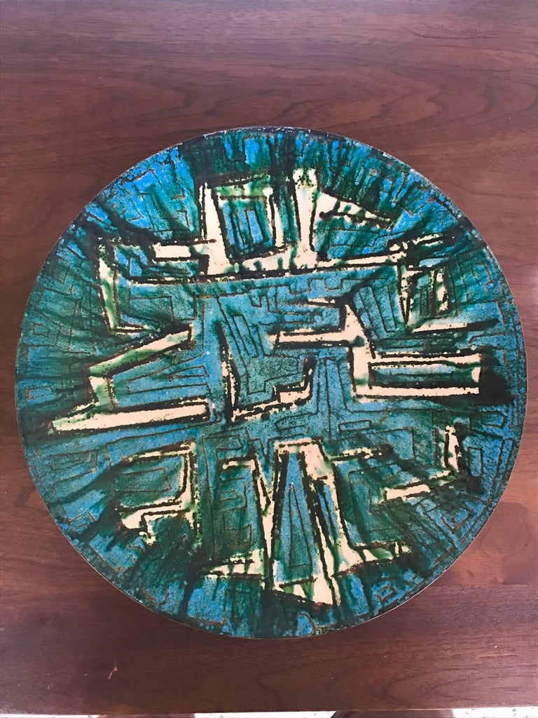 "A fantastic and unusual Italian enamel on copper, signed VFN. Great example of midcentury Italian modern style. Large scale-diameter approx. 12.25""."