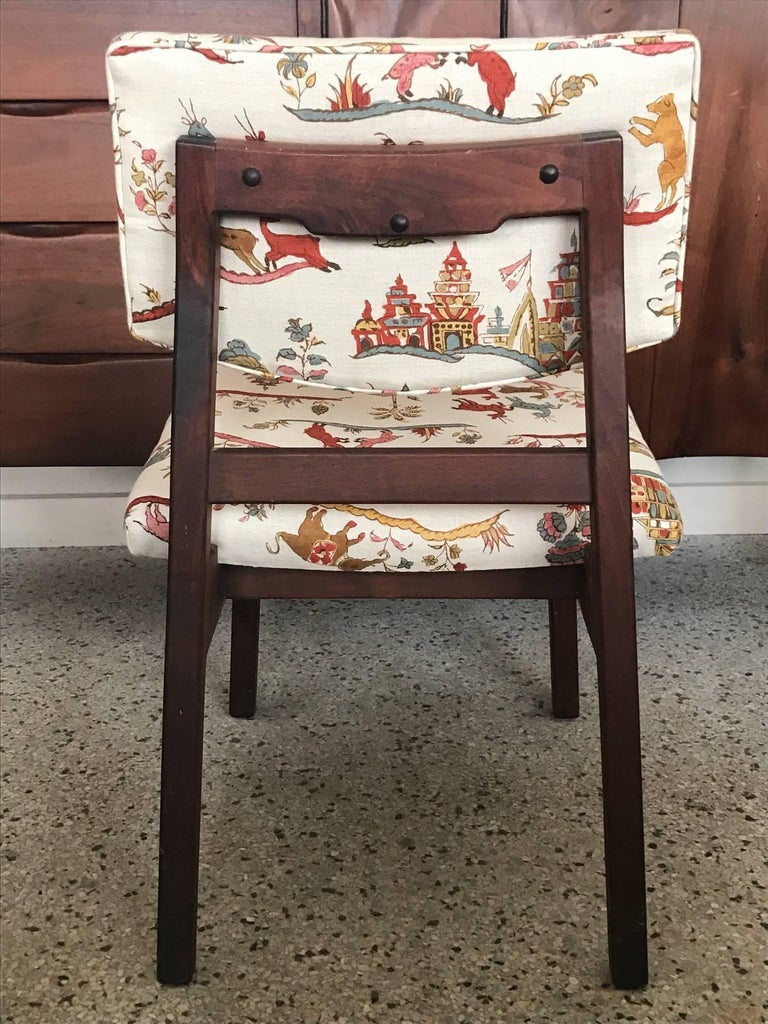 "A Classic Jens Risom occasional chair reupholstered in Cowtan and Tout ""Fables"" linen print. Seat height is 17""."