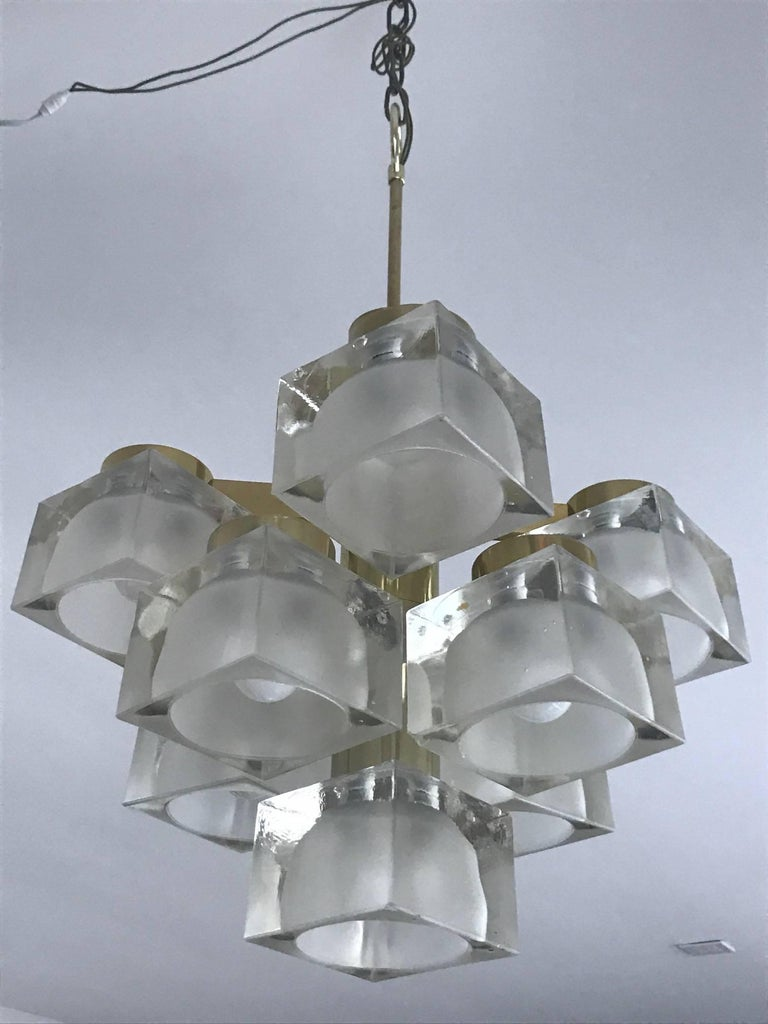 Sciolari Petite Glass Cube and Brass Chandelier for Lightolier For Sale 1