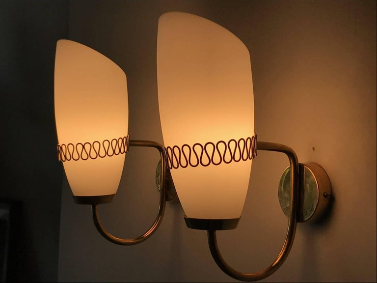 Mauri Almari Brass Sconces for Idman, Finland, 1950s In Good Condition For Sale In St.Petersburg, FL